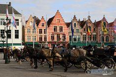 Pferdekutschen am Grote Markt, Brügge, Belgien