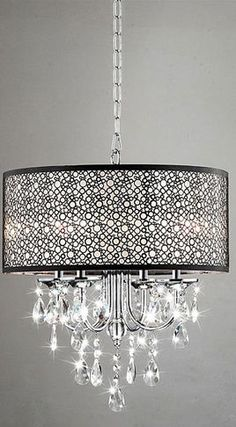 Indoor 4-Light Chrome/Crystal/Metal Bubble Shade Chandelier - contemporary - chandeliers - Overstock
