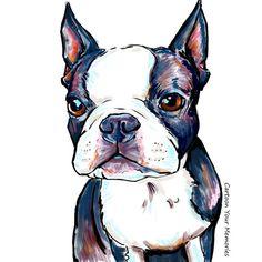 Boston+Terrier++art+print+by+CartoonYourMemories+on+Etsy