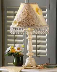 Country Table Lamp With Patchwork Shade
