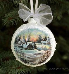 Christmas Ornament Hand Painted by LaivaArt on Etsy, $50.00 #Christmas #ornament #hand #painted