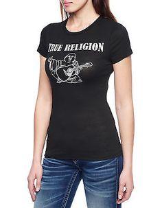 $75 True Religion Black Hand Picked Logo Crystal Tee T Shirt Top XS Womens New 887150879072 | eBay