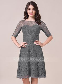 A-Line/Princess Scoop Neck Knee-Length Zipper Up Sleeves 1/2 Sleeves No Grape Spring Summer Fall General Plus Lace Bridesmaid Dress