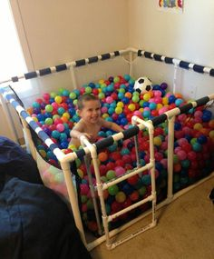 The ball pit is a favorite of so many kids. Build your own home ball pit! Such an easy idea and the kids would be in heaven! Look the Tutorial.
