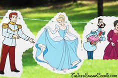 DIY Cinderella Birthday Party Banner Ideas- Disney Characters Prince Charming, Stepmother Lady Tremaine, Drizella, Anastasia, The Grand Duke, Gus, Jaq, Mary, Suzy, Perla, Lucifer Cat