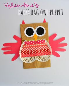 Valentine's Paper Bag Owl Puppet kids craft from iheartcraftythings.com