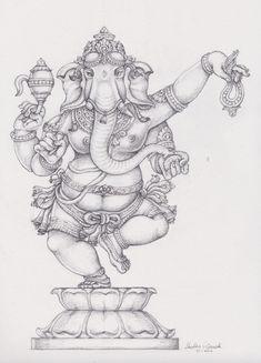 Statues Art Painting - Girl Statues Drawing - Statues Tattoo For Men - - Ganesha Drawing, Lord Ganesha Paintings, Lord Shiva Painting, Ganesha Art, Krishna Art, Ganesha Sketch, Abstract Pencil Drawings, Outline Drawings, Art Drawings Sketches