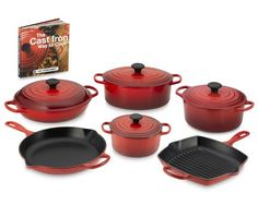 """Le Creuset Signature 10-Piece Cookware Set (plus The Le Creuset Cookbook: The Cast Iron Way to Cook). 