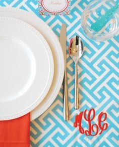 Place Setting great color combo!  orange coral and turquoise