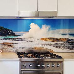 Splash Ocean Glass Kitchen Splashback Kitchen Splashback Designs, Bathroom Splashback, Kitchen Design, Coloured Glass Splashbacks, Printed Glass Splashbacks, Glass Kitchen, Cheap Kitchen, Green Kitchen, Wooden Kitchen