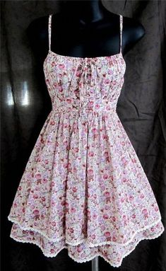 Details about Cecico Modcloth floral dress sundress corset lace up tiered sexy lolita egl S - Summer Dresses Day Dresses, Casual Dresses, Short Dresses, Fashion Dresses, Summer Dresses, Casual Clothes, Pretty Outfits, Pretty Dresses, Beautiful Dresses