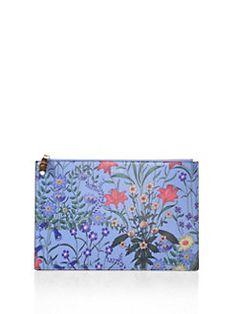 d62836171de39 Gucci - Flora-Print Leather Pouch