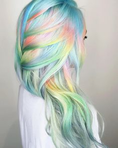 Rainbow hair. Pastel hair. Long hair! #hairgoals!