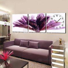 Estilo Moderno reloj de pared floral en lienzo 3pcs
