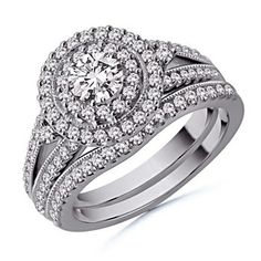Round Diamond Wedding Ring Set in 14k White Gold: Angara   I would not mind having this on my finger!!! Wishful thinking.