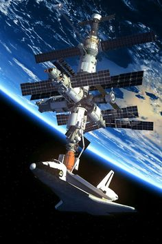 The International Space Station in orbit around Earth. Space Planets, Space And Astronomy, Ufo, Cosmos, Nasa Space Program, Space Artwork, Space Race, Earth From Space, Space Shuttle