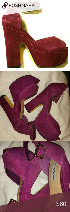 Steve Madden Heels Bougainvillea purple suede Stave Madden Heels. Size 7. Gold hardware. Ankel strap, visible stitching and a comfortable 5 in. stacked heel. Keeps you dancing all night.  Beautifully kept. Worn once. Clean bottoms and foot beds. Steve Madden Shoes Heels