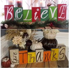 """Christmas/Thanksgiving Reversible holiday reclaimed wood blocks. 3.5""""wX1.5""""d X 5,6 and 7"""" High. 24""""W  total Hand painted with vinyl letters"""