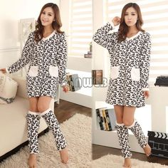 winter coral fleece sleepwear nightgown long-sleeve nightgown socks Pajamas Sets lounge set Leop ...