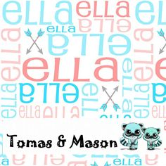 Ella Arrows Minky Name Personalised Blanket Design. Choose your own, images, colours and name. Cot size $120 pp. Find us on FB, Tomas & Mason :)