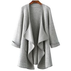 Long Sleeve Drape Front Grey Coat (35 CAD) ❤ liked on Polyvore featuring outerwear, coats, grey, grey coat, gray coat, drape front coat, long sleeve coat and short coat
