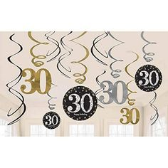 Make their birthday shine! Double-sided 30 cutouts dangle from black, gold, and silver foil swirls on these dazzling adult birthday decorations. Easily hang Sparkling Celebration Birthday Swirl Decorations by the attached plastic hooks. Cheer Birthday Party, 50th Birthday Party Favors, 60th Birthday Decorations, Happy Birthday Parties, Happy Birthday Banners, Helium Balloons, Foil Balloons, 30th Anniversary Parties, Thing 1