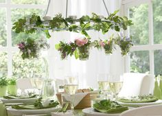 Hula Hoop and Greenery Chandelier