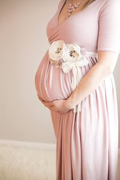 Vivian Gown - On the Shoulder Sleeve Maxi Style Sweetheart Soft Knit Maternity Gown