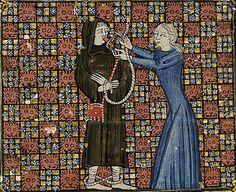 Universitätsbibliothek Heidelberg, Cod. Pal. lat. 1969, detail of f. 81r (the pilgrim is captured by Obedience). Guillaume de Deguileville, Le Pèlerinage de Vie Humaine. Toulouse, c.1375