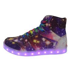 size 40 fa37a 6eb98 DAYOUT Unique Galaxy Print Led Light up Sneakers for Adults Mens Womens  Luminous Canvas Shoes (