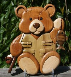 Fisherman Teddy Bear Intarsia Wall hanging by EntwoodCrafts, $90.00