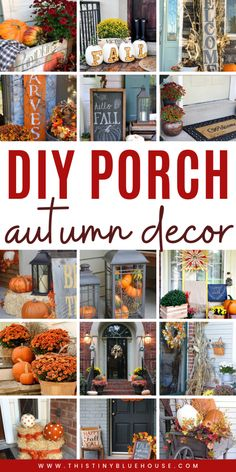Best DIY Fall Decor Ideas - This Tiny Blue House Get your home fall ready with these stunning autumn porch decor ideas. These Best DIY Fall Decor ideas for your porch are easy to make, inexpensive and guaranteed to add some autumn flair to your home. Autumn Decorating, Porch Decorating, Decorating Ideas, Cool Diy, Fall Projects, Sewing Projects, Diy Projects, Thanksgiving Decorations, Fall Decorations