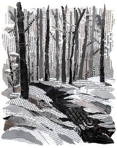 Winter Collage. Use black and white texts as media for a composition that focuses on value.