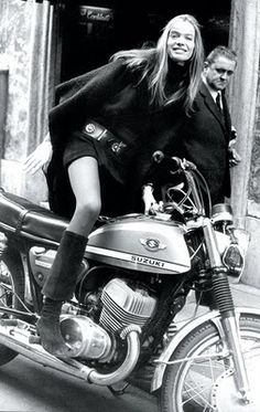 Veruschka riding a motorcycle... my style & with a bike