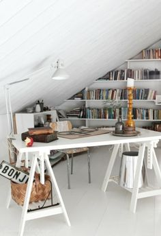 Tiny attic office, Bookshelf, Horse saws,, White, Space utilization, Small workspace, Home office
