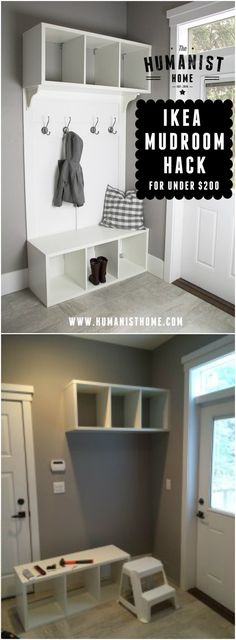IKEA Mudroom Hack IKEA Hacks For Your Home Decor IKEA hacks can change the look of your home.It is a source for affordable furniture. We can make it by giving a DIY touch to our furniture. Home Decor Hacks, Home Decor Styles, Diy Home Decor, Decorating Hacks, Decoration Ikea, Ikea Decor, Bedroom Hacks, Ikea Bedroom, Ikea Hacks