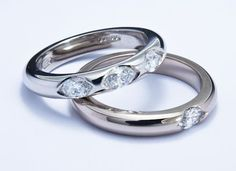 White gold and platinum rings end set with marquise cut diamonds #JonDibben #diamond #marquise #weddingring #ring