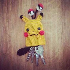 Pikachu Key Cosy - free crochet pattern at My Little Cute Amis.