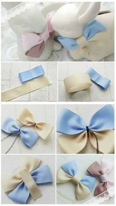 a pair of scissors and three strands of wide Stain Ribbon, you can handle this how to make hair bows plan rapidly.How to make Hair Bows - Free Hair Bow Tutorials Made the elephant for a friend and she loved it!DIY bow with simple instructions. Diy Ribbon, Ribbon Crafts, Ribbon Bows, Diy Crafts, Ribbons, Felt Bows, Ribbon Flower, Ribbon Art, Making Hair Bows