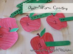 Apple and worm counting. Childcare Daycare Preschool School Math. Place correct popsickle stick (worm) with apple that has corresponding number