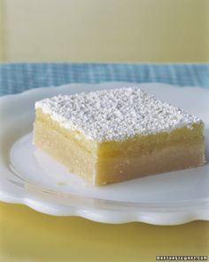 Martha Stewart's Lemon Squares. Very good! I added the zest of 1 lemon into the crust and the zest of 2 lemons into the filling. Also, I used only 1/2 c of lemon juice and milk as stated at the end of the recipe. I added a couple of sugared blackberries on the top. Yum!