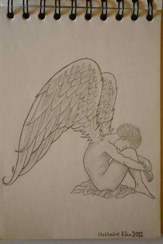 ⚪natta.lk @ instagram⚪ Teckning Vingar Kille Blyerts Drawing Wings Boy Graphite Blacklead God Good Nice Bad Ond Evil Art Artwork Painting Sketching Skiss
