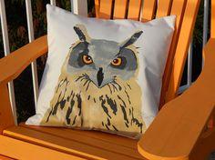 GREAT HORNED OWL pillow 20 50cm cushion bird hand by crabbychris
