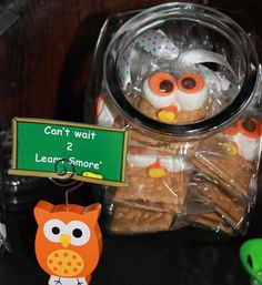 """OWL SMORES Gram-crackers i made... #PINTEREST """"Can't wait 2 learn SMORE"""""""