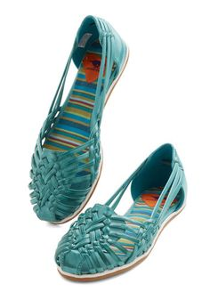 Strappy and I Know It Flat in Turquoise - Flat, Faux Leather, Green, Solid, Woven, Casual, Festival