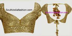 Tie back saree blouse ~ Fashion Trends ~ – South India Fashion Golden Blouse Designs, Blouse Designs Silk, Designer Blouse Patterns, Bridal Blouse Designs, Chudi Neck Designs, Choli Designs, Sabyasachi Bridal Collection, Choli Pattern, Stylish Blouse Design