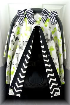 car seat canopy, car seat cover, lime green, grey, polka dot, giraffe, chevron, baby car seat, infant girl, baby girl, baby boy, infant boy