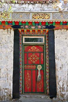 Featured Art - Tibet Red Door by Kate McKenna Old Doors, Windows And Doors, Front Doors, Voyager C'est Vivre, Chinese Door, Door Gate, Unique Doors, Grand Entrance, Painted Doors