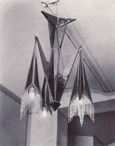 Josef Gočár, chandelier, 1913-4. Contemporary photo. Source: 1909-1925 Kubismus in Prag.