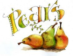 """Art by Martha Lever - but they looks so good to eat!  She quoted: . . .""""when in doubt, paint a pear""""  from Jeff Mahoney"""